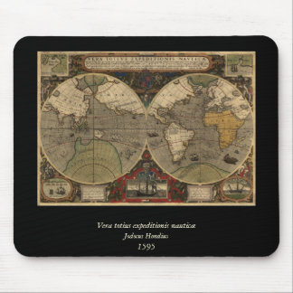 1595 Vintage World Map by Jodocus Hondius Mouse Pad