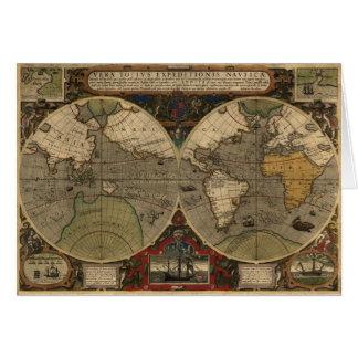 1595 Vintage World Map by Jodocus Hondius Note Card