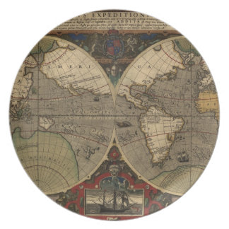1595 Vintage World Map by Jodocus Hondius Party Plates