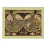 1595 Vintage World Map by Jodocus Hondius Postcard