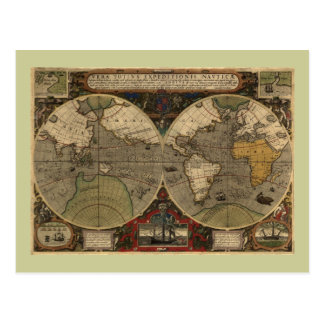 1595 Vintage World Map by Jodocus Hondius Postcard