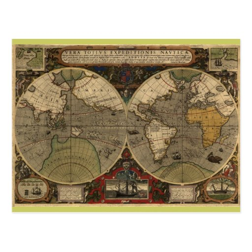 1595 Vintage World Map by Jodocus Hondius Post Cards