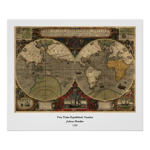 1595 Vintage World Map by Jodocus Hondius Posters