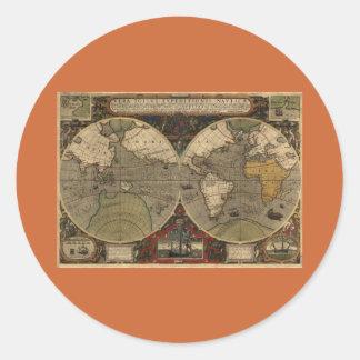 1595 Vintage World Map by Jodocus Hondius Round Sticker
