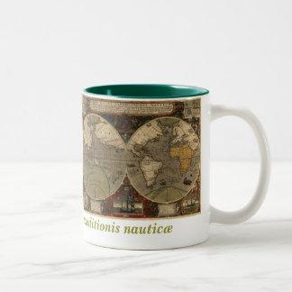 1595 Vintage World Map by Jodocus Hondius Two-Tone Coffee Mug