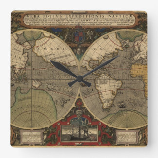 1595 Vintage World Map by Jodocus Hondius Wall Clocks