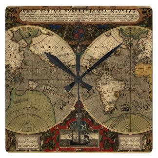 1595 Vintage World Map by Jodocus Hondius Wall Clocks