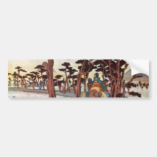 15. 吉原宿, 広重 Yoshiwara-juku, Hiroshige, Ukiyo-e Bumper Sticker