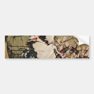 15. 梅花群鶴図, 若冲 Plum Blossoms & Cranes, Jakuchū Bumper Sticker