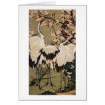 15. 梅花群鶴図, 若冲 Plum Blossoms & Cranes, Jakuchū Greeting Card