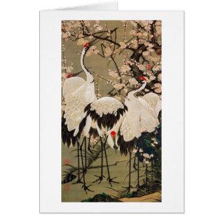 15. 梅花群鶴図, 若冲 Plum Blossoms & Cranes, Jakuchū Card