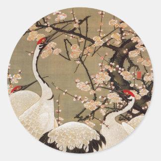 15. 梅花群鶴図, 若冲 Plum Blossoms & Cranes, Jakuchū Classic Round Sticker