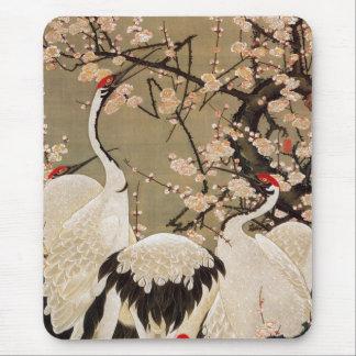 15. 梅花群鶴図, 若冲 Plum Blossoms & Cranes, Jakuchū Mouse Mat