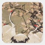 15. 梅花群鶴図, 若冲 Plum Blossoms & Cranes, Jakuchū Sticker