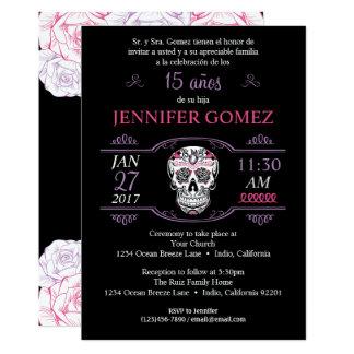 15 Años Quinceañera Birthday Sugar Skull Invite