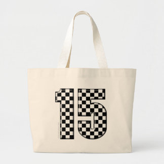 15 checkered auto racing number tote bags
