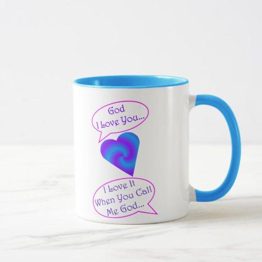 15 oz God Mug, blue trim Mug