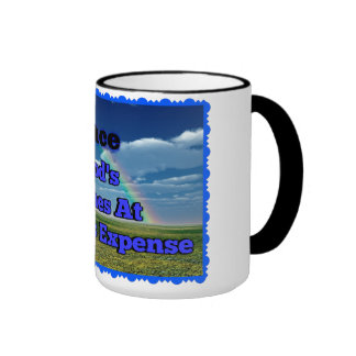 15 oz. white coffee cup with black rim and handle. ringer mug