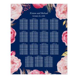 15 Tables Pink Floral Wreath Wedding Seating Chart Poster