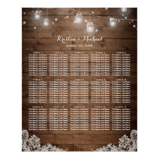 15 Tables Rustic String Lights Seating Chart