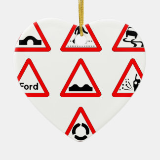 15 Triangle Traffic Signs Ceramic Heart Decoration