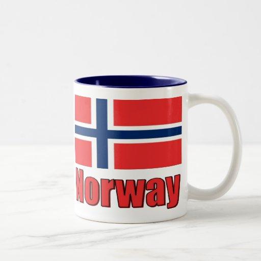 15oz Two Tone Mug Blue\White Norway/Flag
