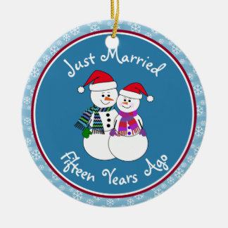 15th Anniversary Gift Fun Snow Couple Christmas Christmas Ornament