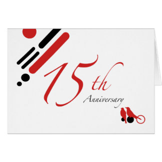 15th Anniversary (mod birds) Card