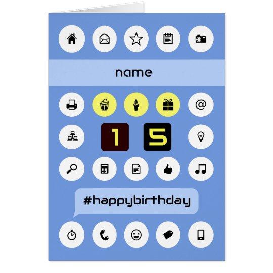 15th birthday add name personalised computing card