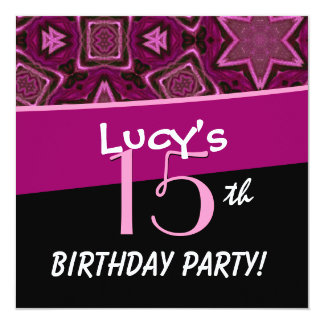 15th Birthday Big Bold Pink Flower Star Pattern 13 Cm X 13 Cm Square Invitation Card