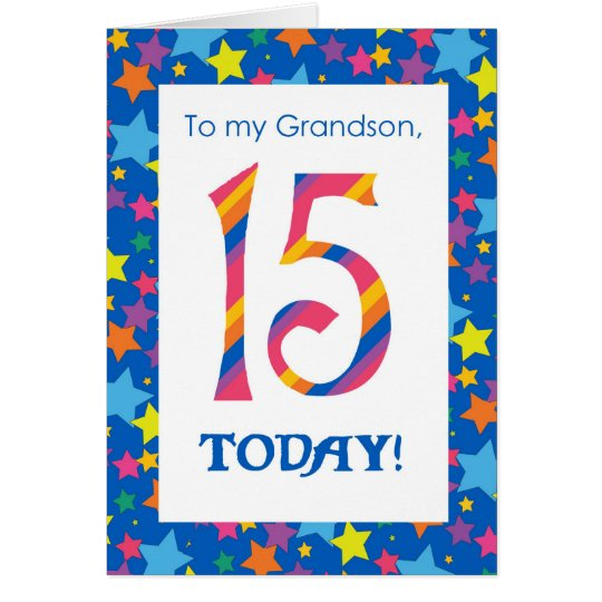 15th Birthday Card for Grandson, Stripes and Stars