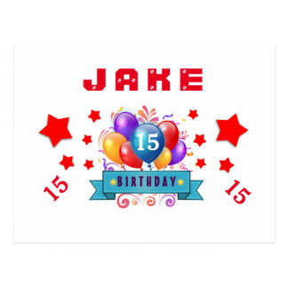 15th Birthday Festive Balloons and Red Stars 104Z Postcard