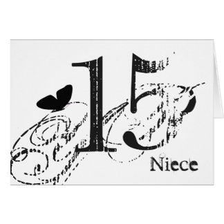 15th birthday for a niece, black butterfly, text. card