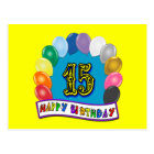 15th Birthday Gifts with Assorted Balloons Design Postcard