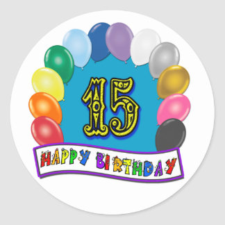 15th Birthday Gifts with Assorted Balloons Design Sticker