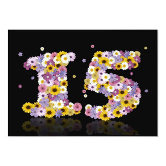 15th Birthday party, with flowered letters 5x7 Paper Invitation Card