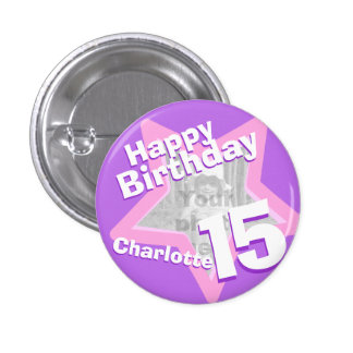 15th Birthday photo fun purple pink button badge