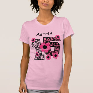 15th Birthday Pink Zebra Custom Name V025A4J4 T-Shirt