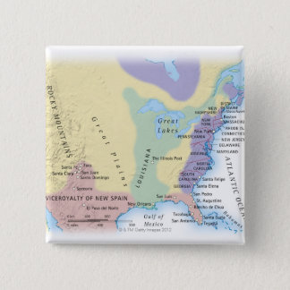 15th Century Map 15 Cm Square Badge