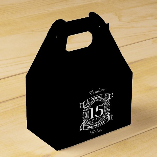 15TH wedding anniversary black and white Favour Box