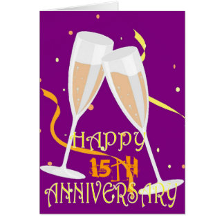 15th wedding anniversary champagne celebration greeting card