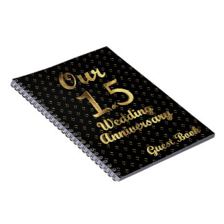 15th Wedding Anniversary Guest Book Black Gold