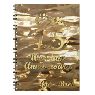 15th Wedding Anniversary Guest Book Gold Elegant