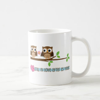 15th Wedding Anniversary Owls Coffee Mug