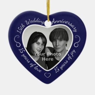 15th Wedding Anniversary Photo Christmas Ornament
