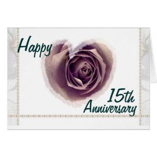 15th Wedding Anniversary - Purple Rose Heart Card