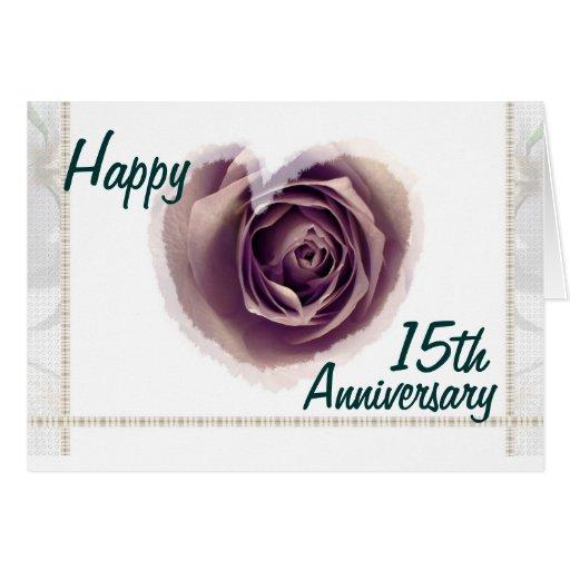 15th Wedding Anniversary Gift Ideas Uk : 15th Wedding Anniversary - Purple Rose Heart Greeting Cards