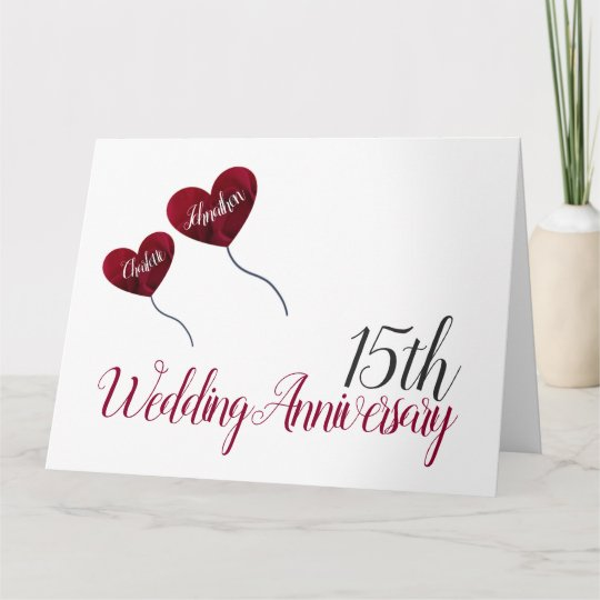 15th Wedding Anniversary Red Rose Balloon Large Card Zazzle Co Uk