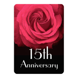 15th Wedding Anniversary Ruby Red Rose A02D 13 Cm X 18 Cm Invitation Card