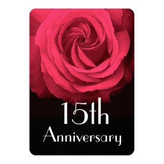 15th Wedding Anniversary Ruby Red Rose A02D 13 Cm X 18 Cm Invitation Card